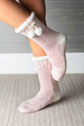 Sequin Chunky Knit Cosy Slipper Sock - Blush/Ivory