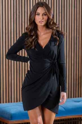 Bryony Slinky Recycled Jersey Wrap Mini Dress  - Black