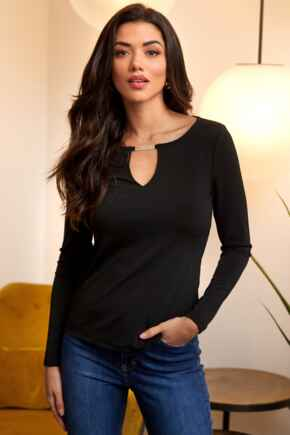 Bailey Slinky Recycled Jersey Keyhole Detail Top - Black