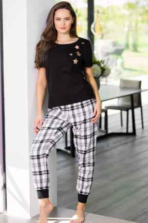 Cosy Check Trouser and Jersey T-Shirt Pyjama - Black/Ivory