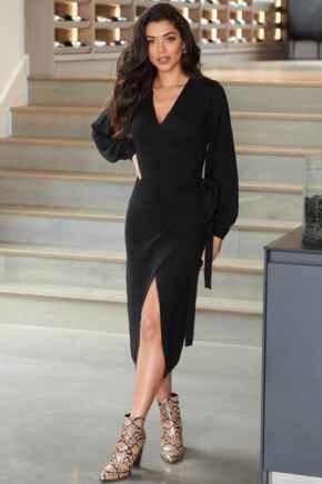 Elle Knit Midi Wrap Dress - Black