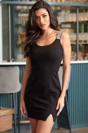 Julia Diamante Strap Ponte Bodycon Mini Dress  - Black/Silver