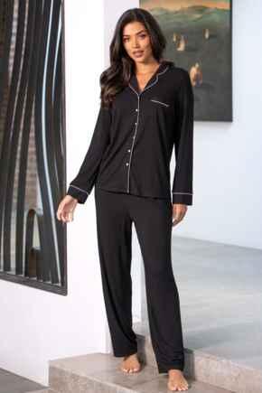 Modal Jersey Long Sleeve Revere Collar Pyjama Set - Black/Pink