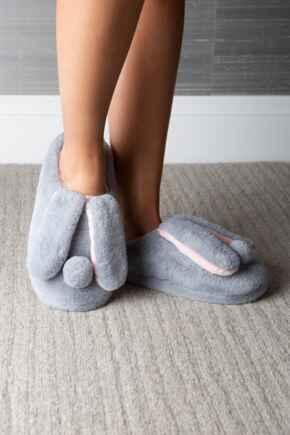 Faux Fur Bunny Mule Slipper - Grey