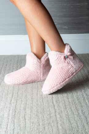 Diamante Trim Faux Fur Bootie Slipper  - Blush/Pink