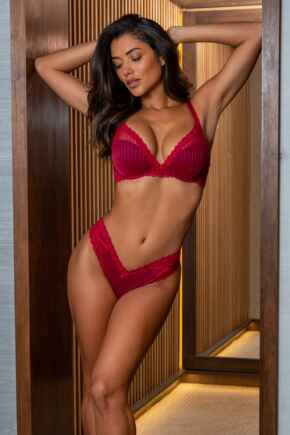 Luxe Linear V Shaped Brazilian Brief - Red/Black