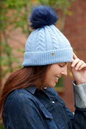 Cable Knit Contrast Pom Beanie Hat - Powder Blue/Navy