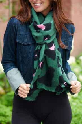 Oversized Leopard Supersoft Scarf  - Forest/Pink