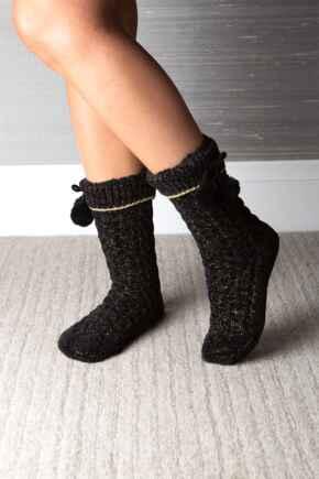 Chenille Sequin Slipper Sock  - Black/Gold