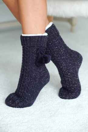 Cosy Cable Knit Slipper Sock  - Navy