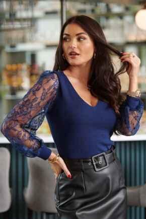 Clara Lace Sleeve V Neck Ecovero Knit Top - Dark Blue