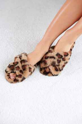 Faux Fur Crossover Slider Slipper  - Tan Leopard