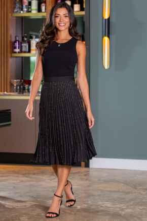 Glitter Pleated Midi Skirt - Black/Gold