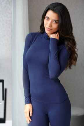 Second Skin Thermal Roll Neck Top - Navy