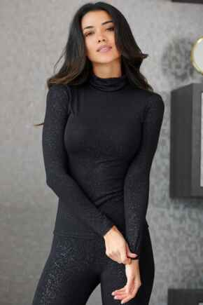 Second Skin Thermal Roll Neck Top - Black Glitter