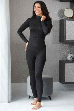 Second Skin Thermal Legging  - Black Glitter