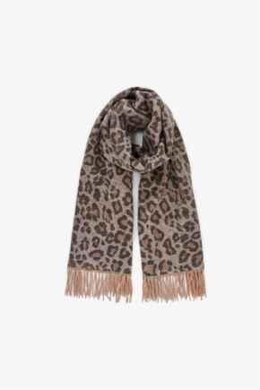 Jira Wool Mix Scarf  - Neutral Leopard