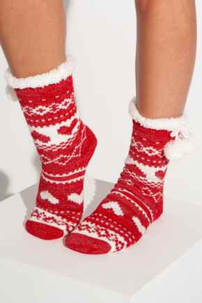 Fairisle Lurex Knit Cosy Slipper Sock - Red/White