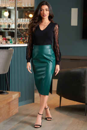 Elise Faux Leather Midi Pencil Skirt - Forest