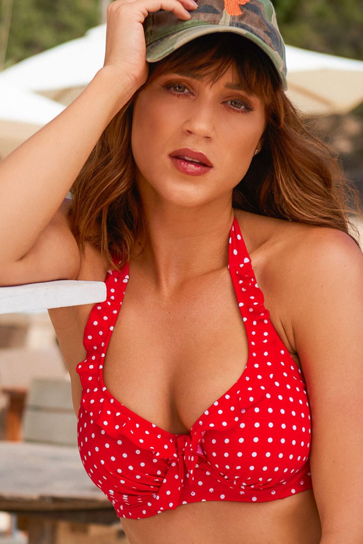Hot Spots Halter Underwired Top - Red