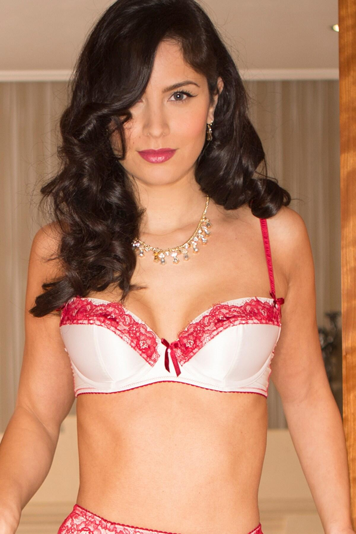 Mystique Half Padded Bra - Cream/Claret