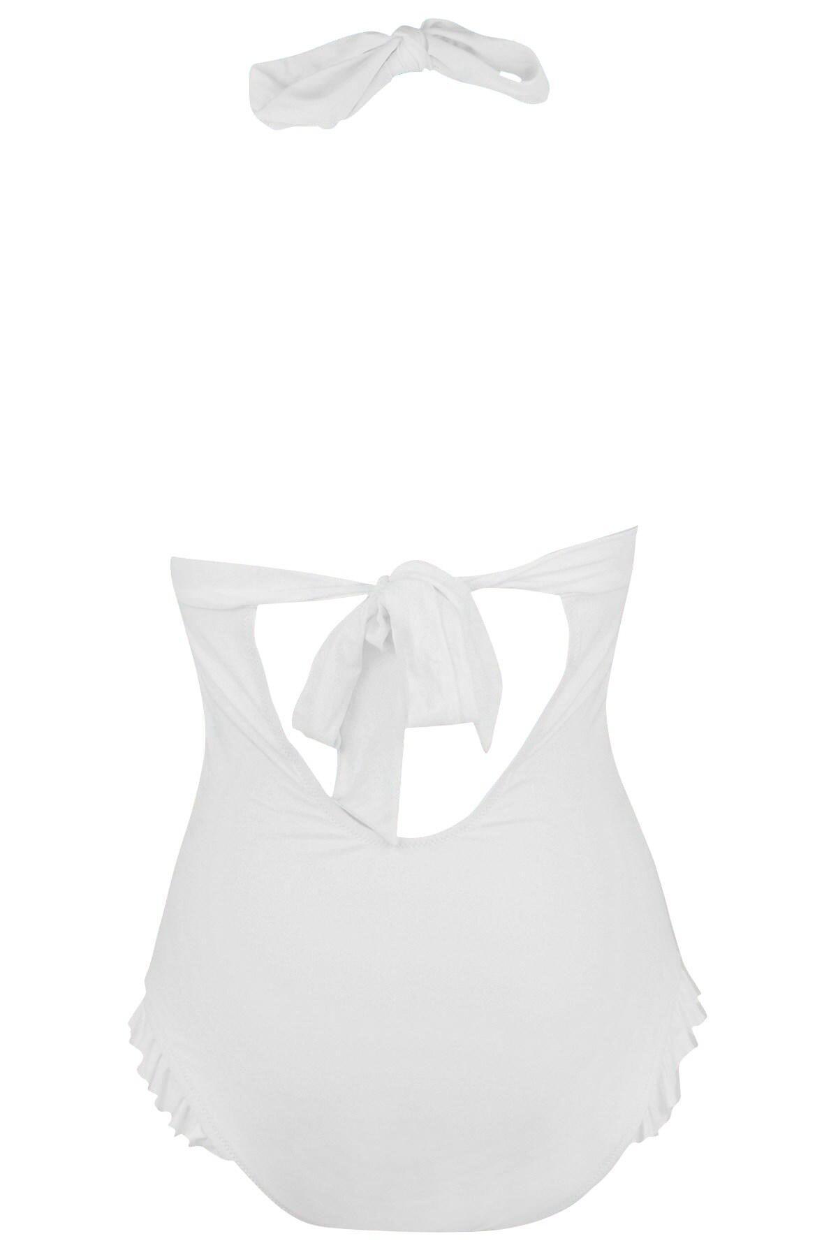 6005 Pour Moi Splash Dual Cup Halter Swimsuit White
