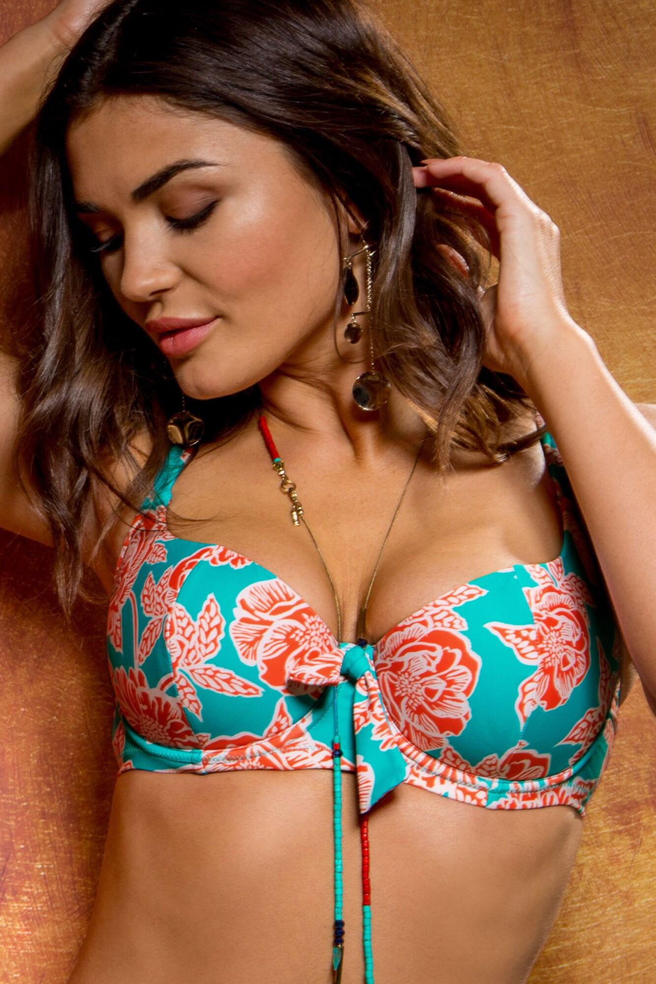 Big Sur Sweetheart Underwired Top - Turquoise/Orange