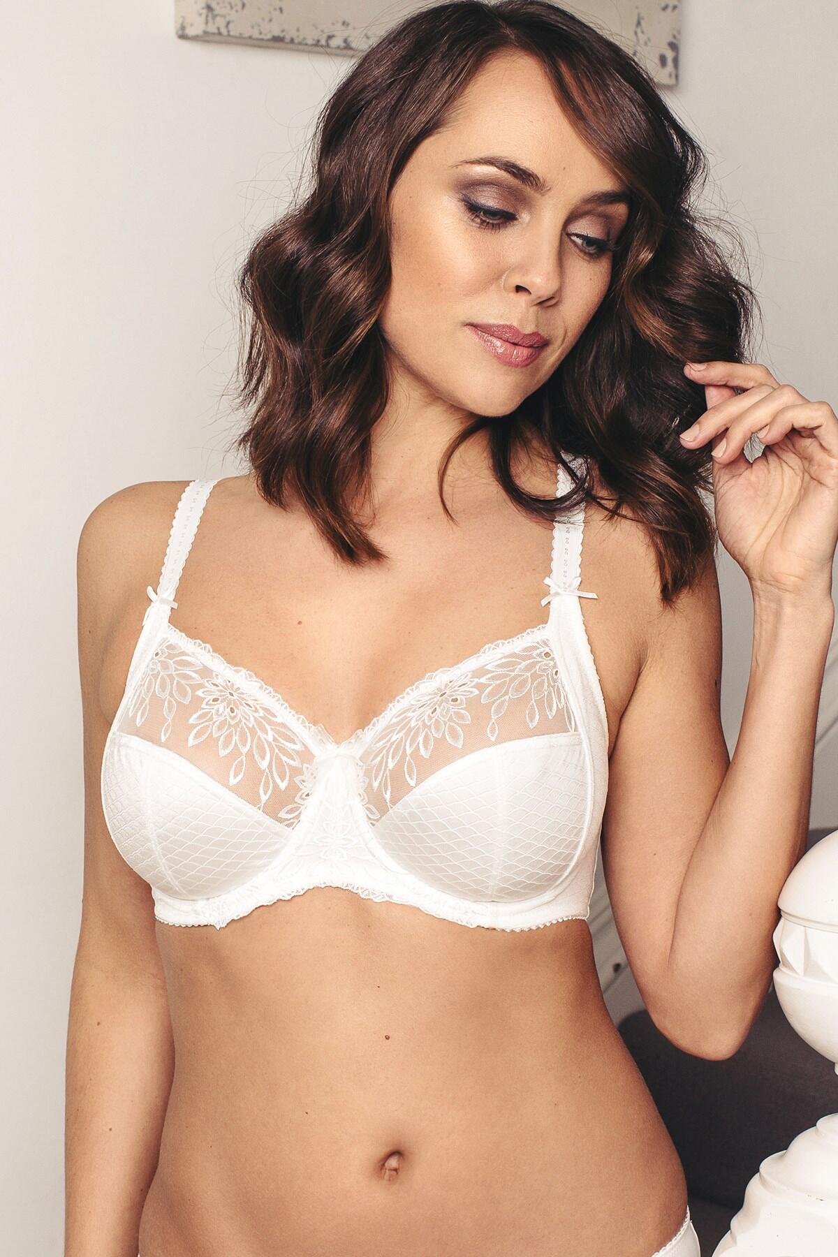 Hepburn Embroidered Side Support Bra - Ivory