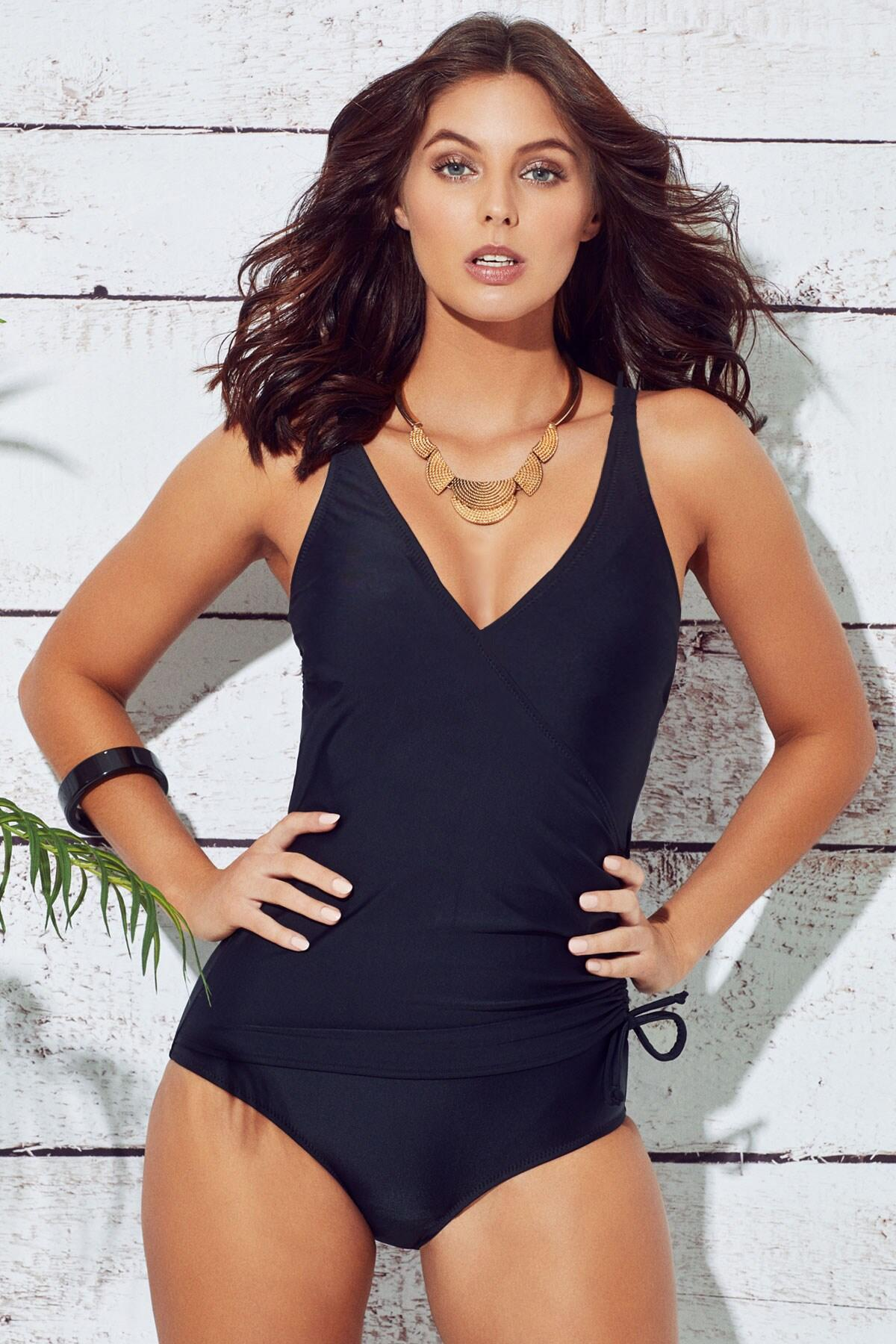 b3ae97527f672 Pour Moi? Wrap Over Control Swimsuit Black