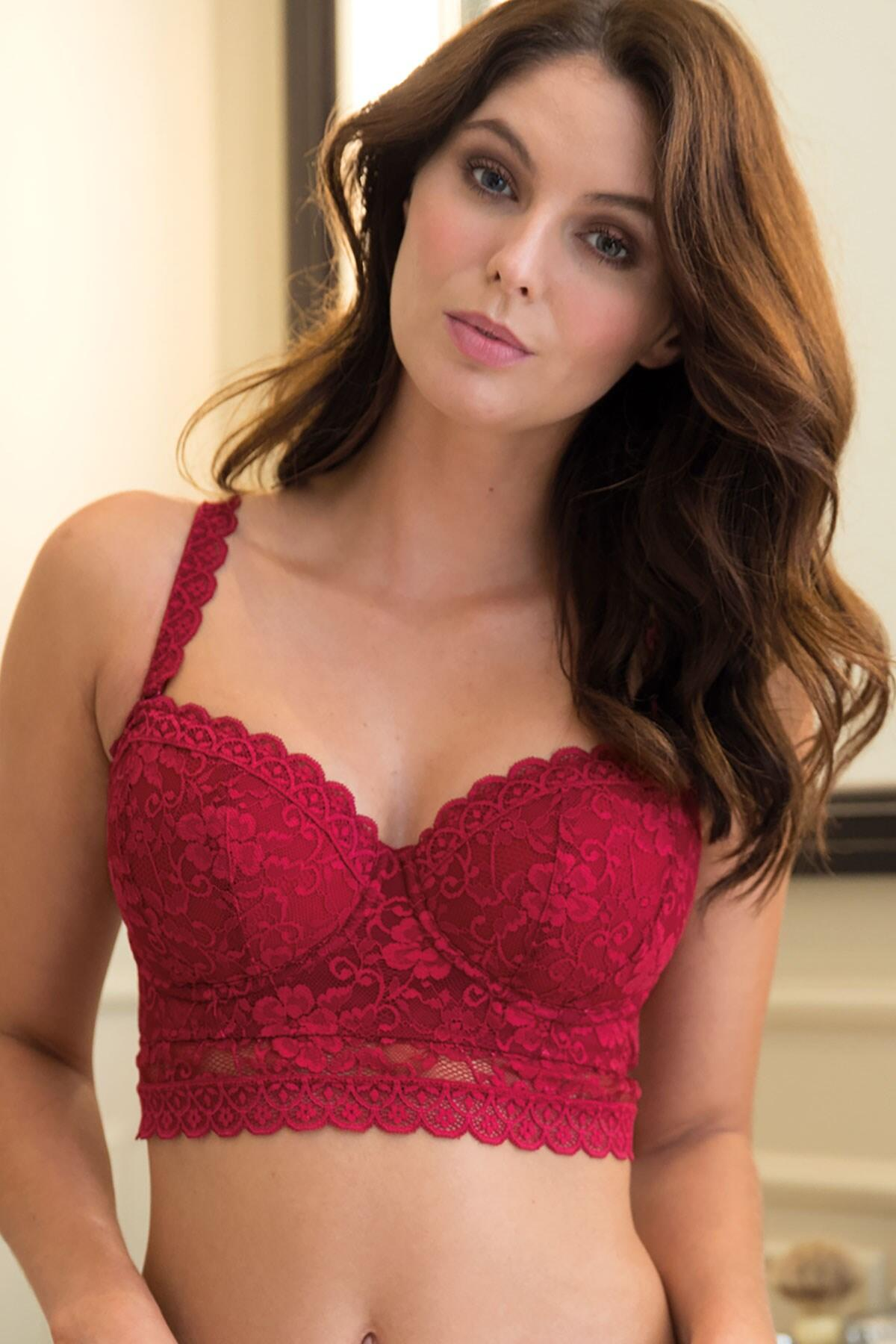 Rebel Strapless Longline Bra - Red