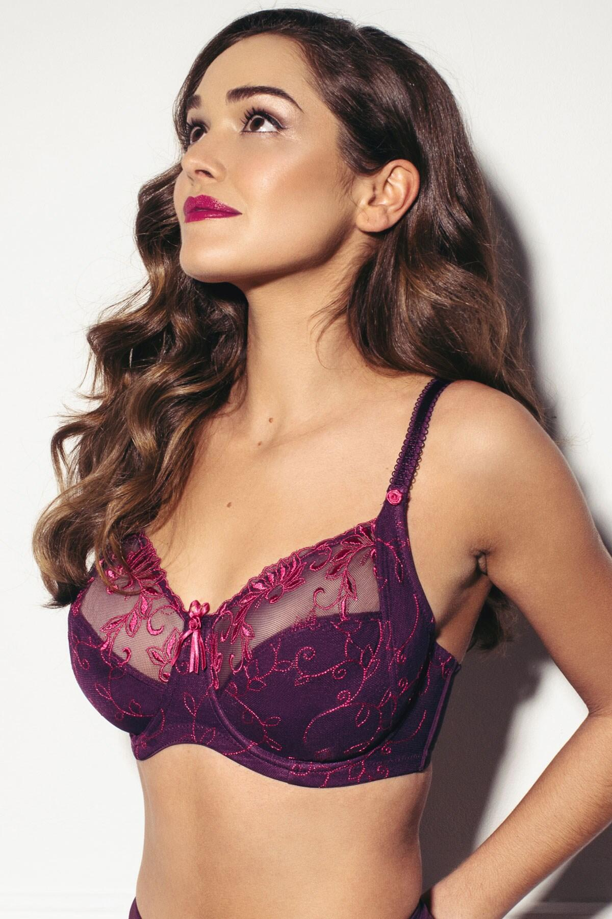 Imogen Rose Embroidered Bra - Purple/Fuchsia