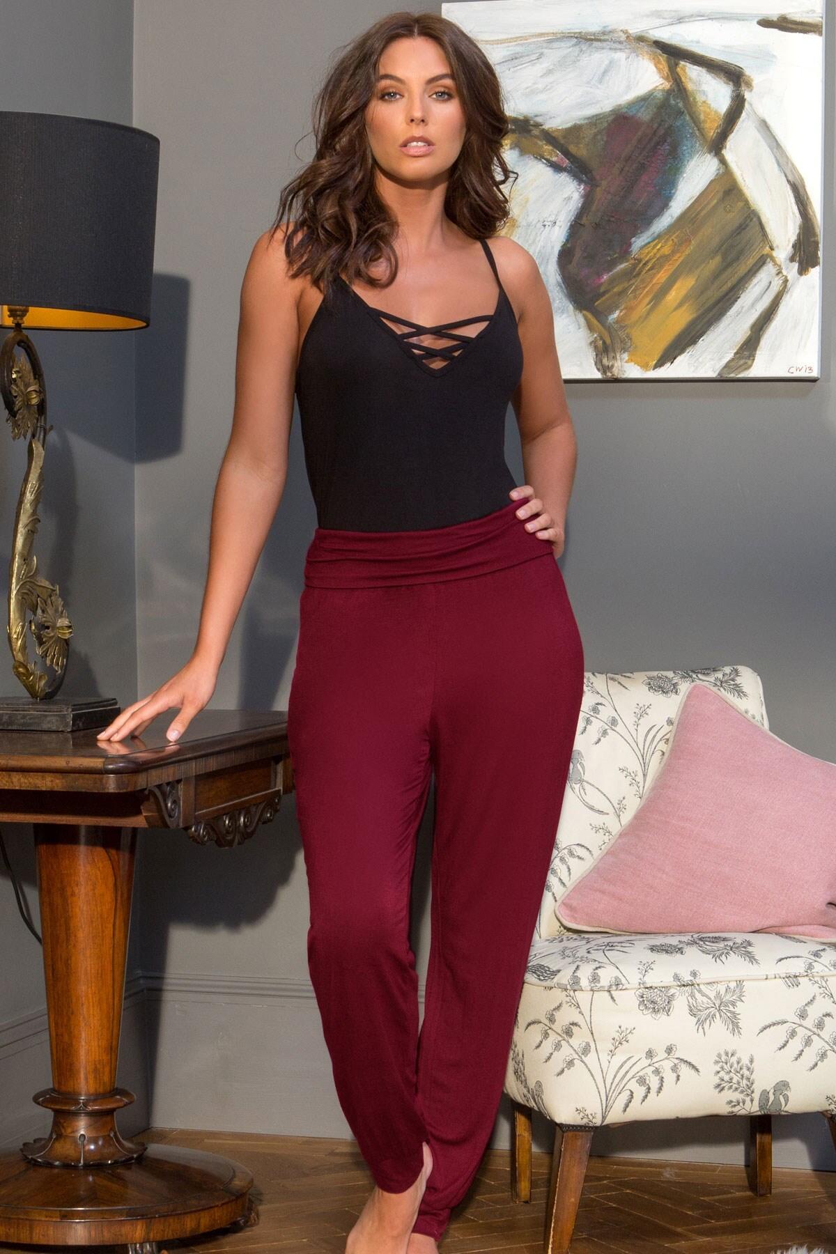 Sofa Love Foldover Cuffed Trouser - Berry