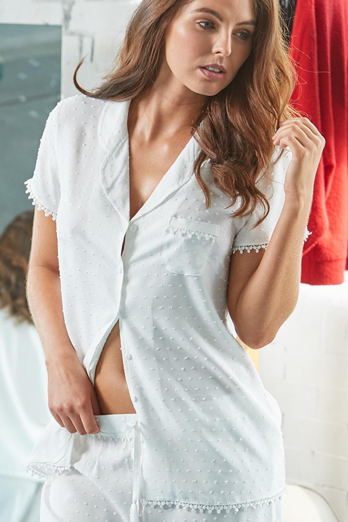 Siesta Short Sleeve Pyjama Top - White