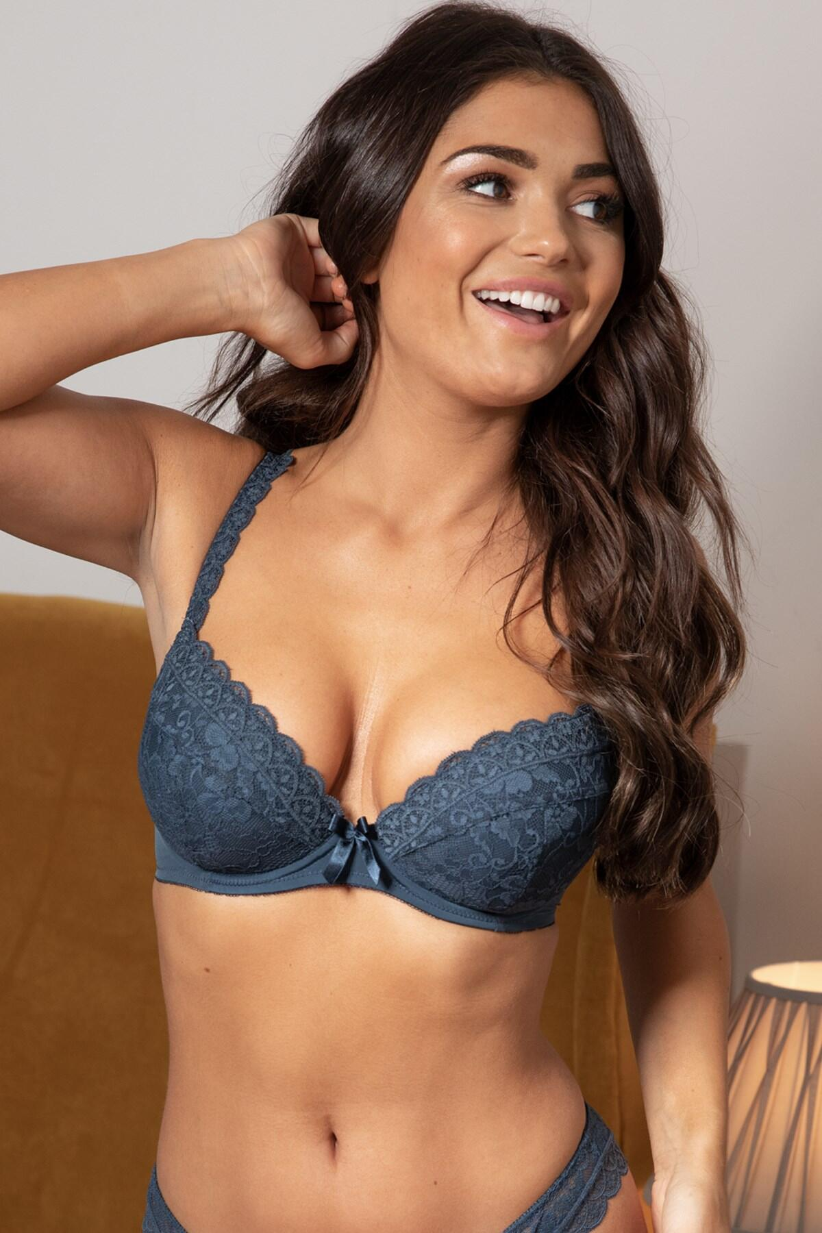 Rebel Padded Plunge Bra - Petrol