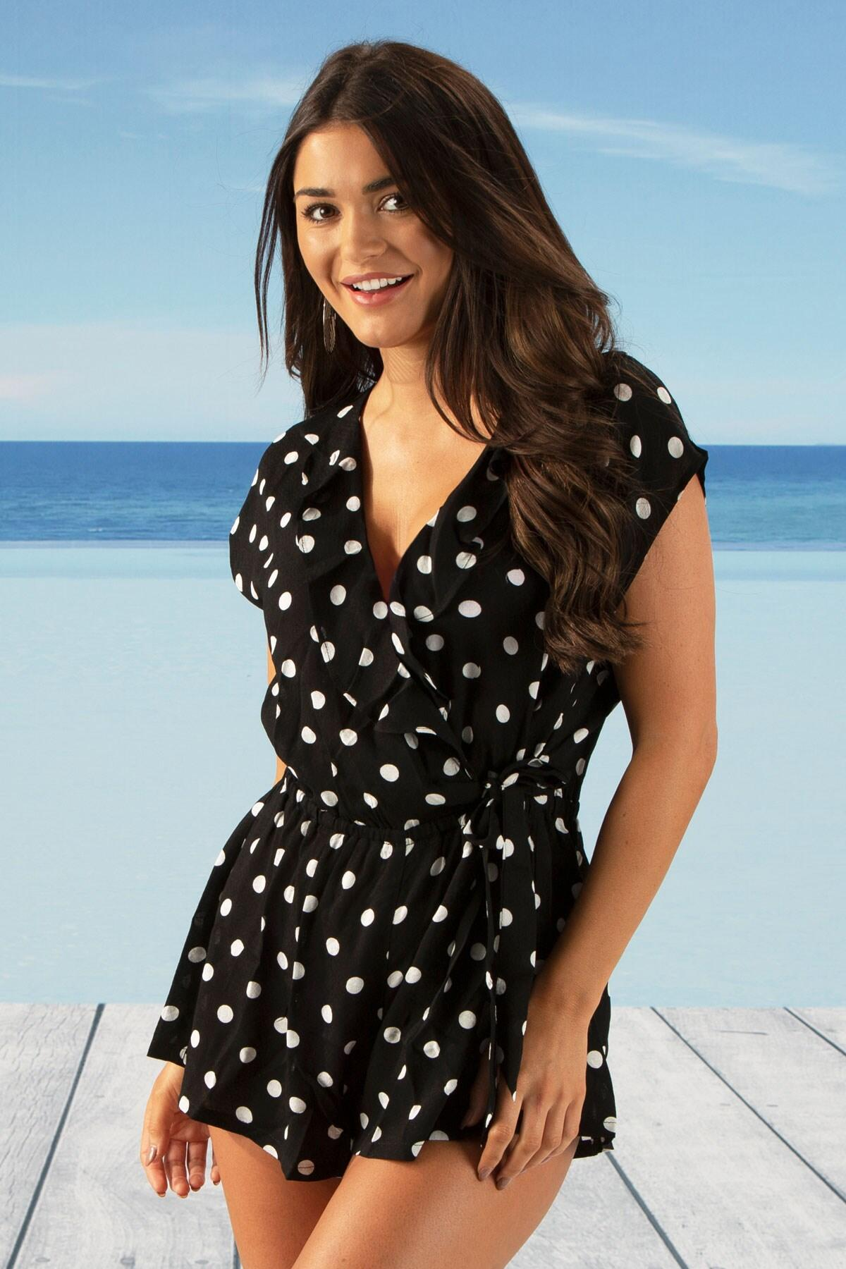 Hot Spots Wrap Fronted Playsuit - Black/White