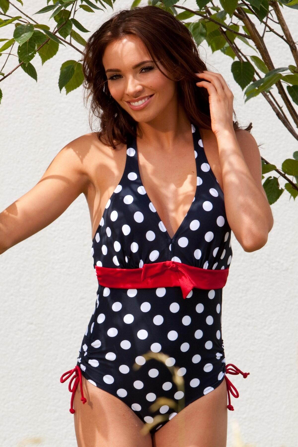 Ahoy Spotty Underwired Halter Swimsuit - Navy/White