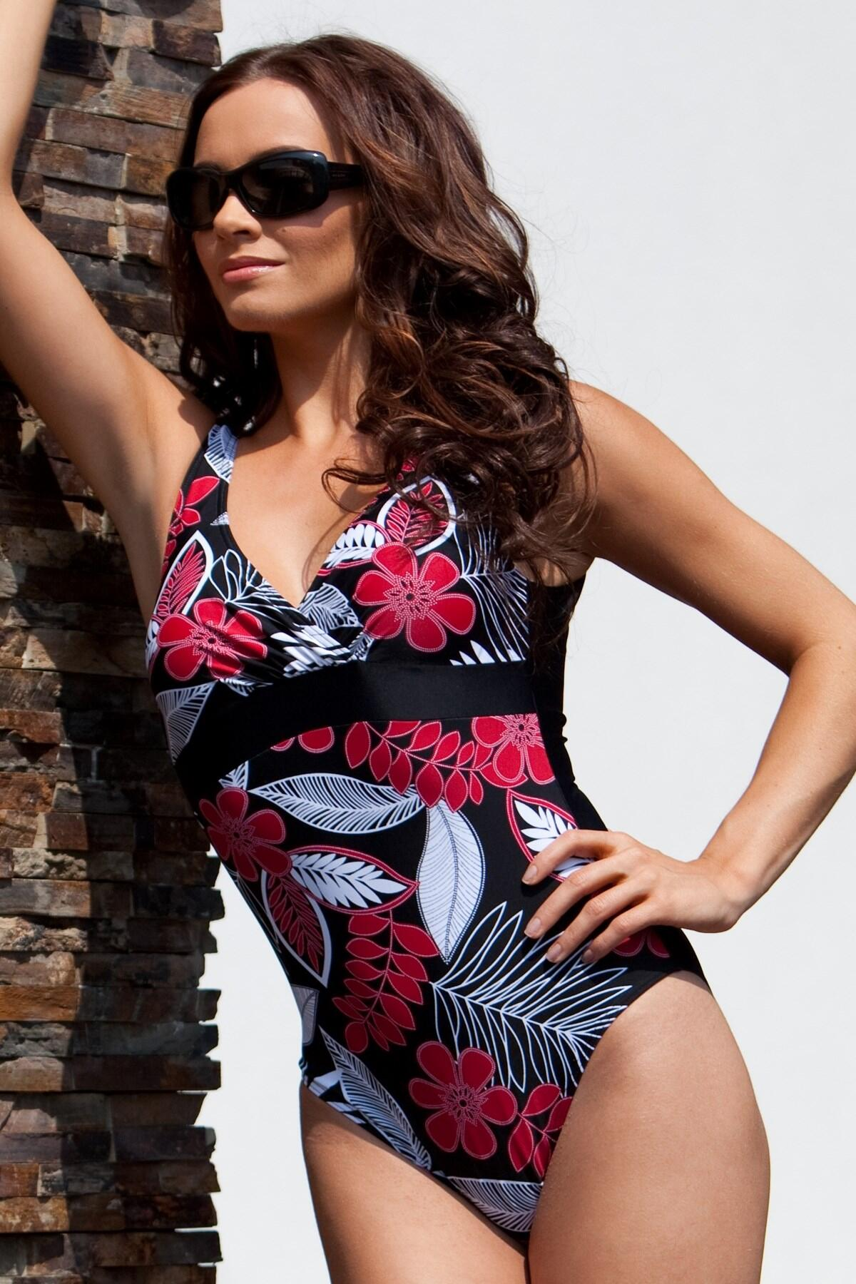 Jungle Control Swimsuit Red/Black - Red/Black