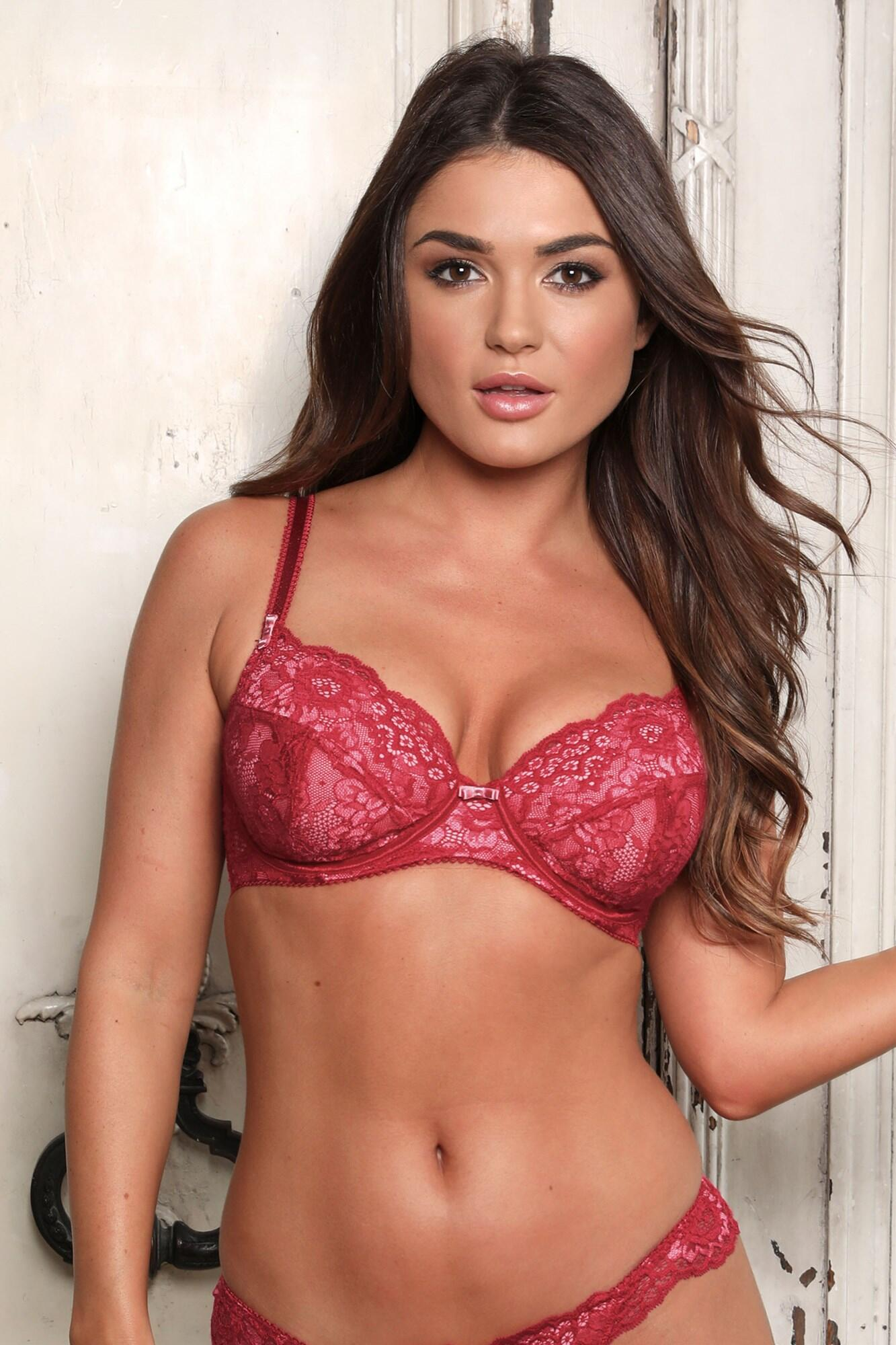 Opulence Lightly Padded Underwired Bra - Red/Pink