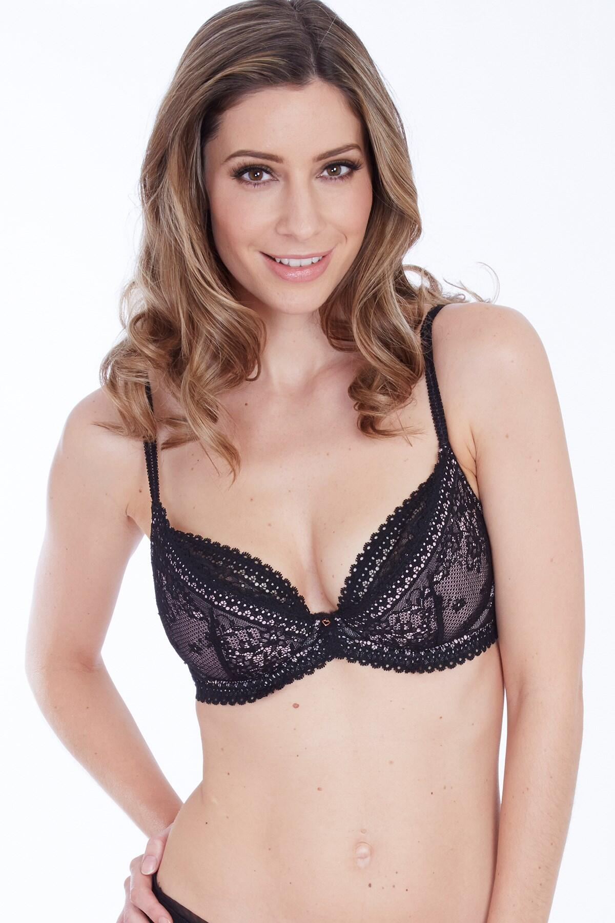 Amalfi Balcony Half Pad Bra - Black Rose/Gold