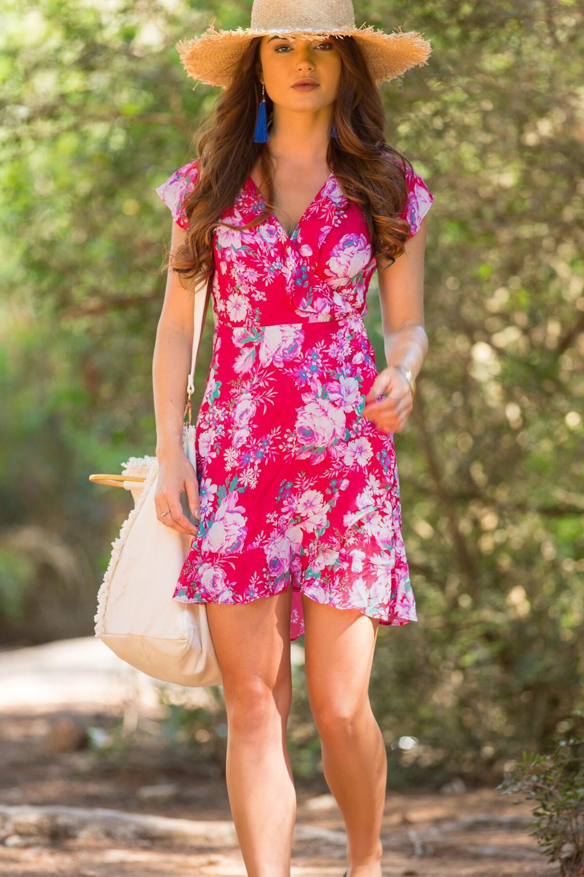 d44555d2c6 Santa Monica Floral Wrap Dress - Red Floral