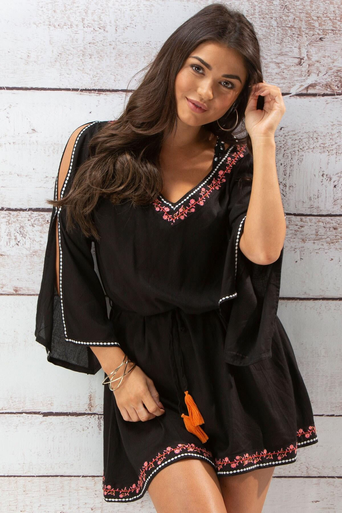 Hot Spots Ditsy Embroidered Cover Up - Black
