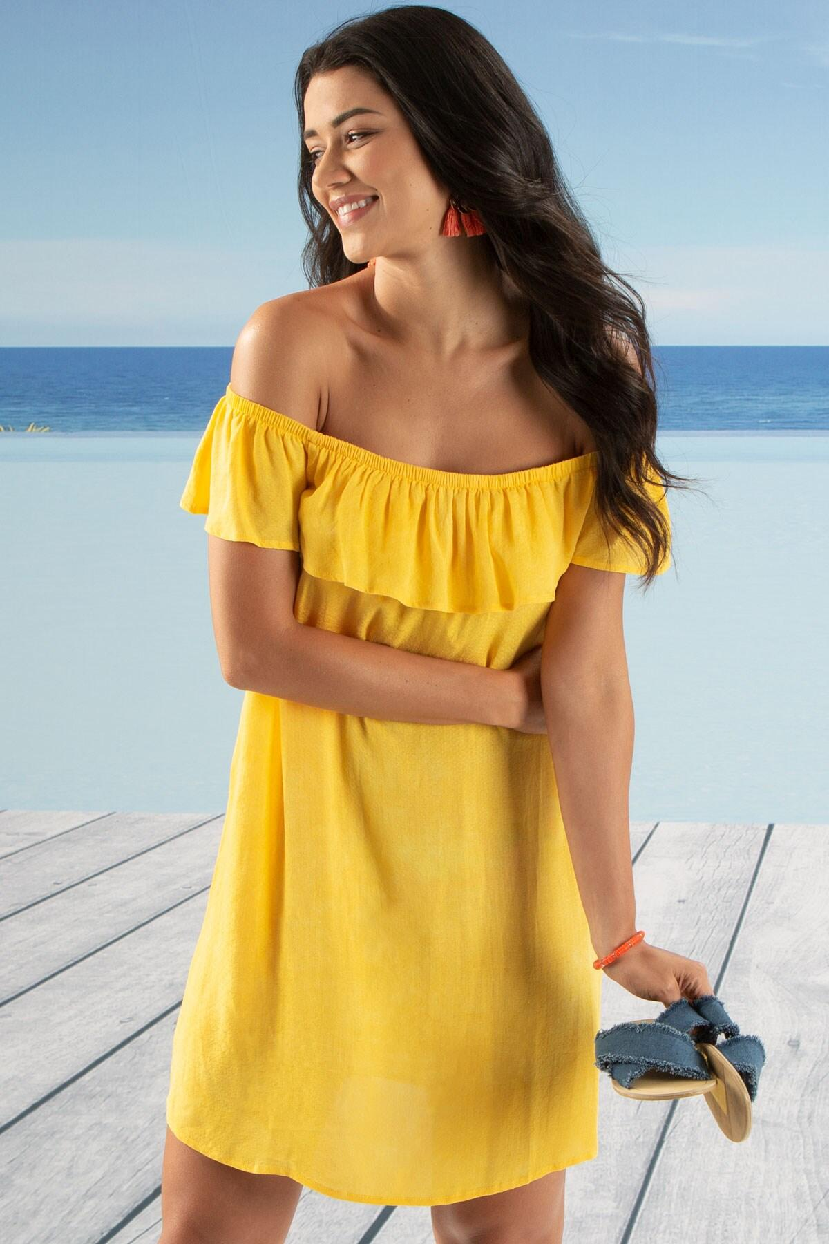 a2da92f5 Pour Moi Santa Monica Bardot Dress Yellow