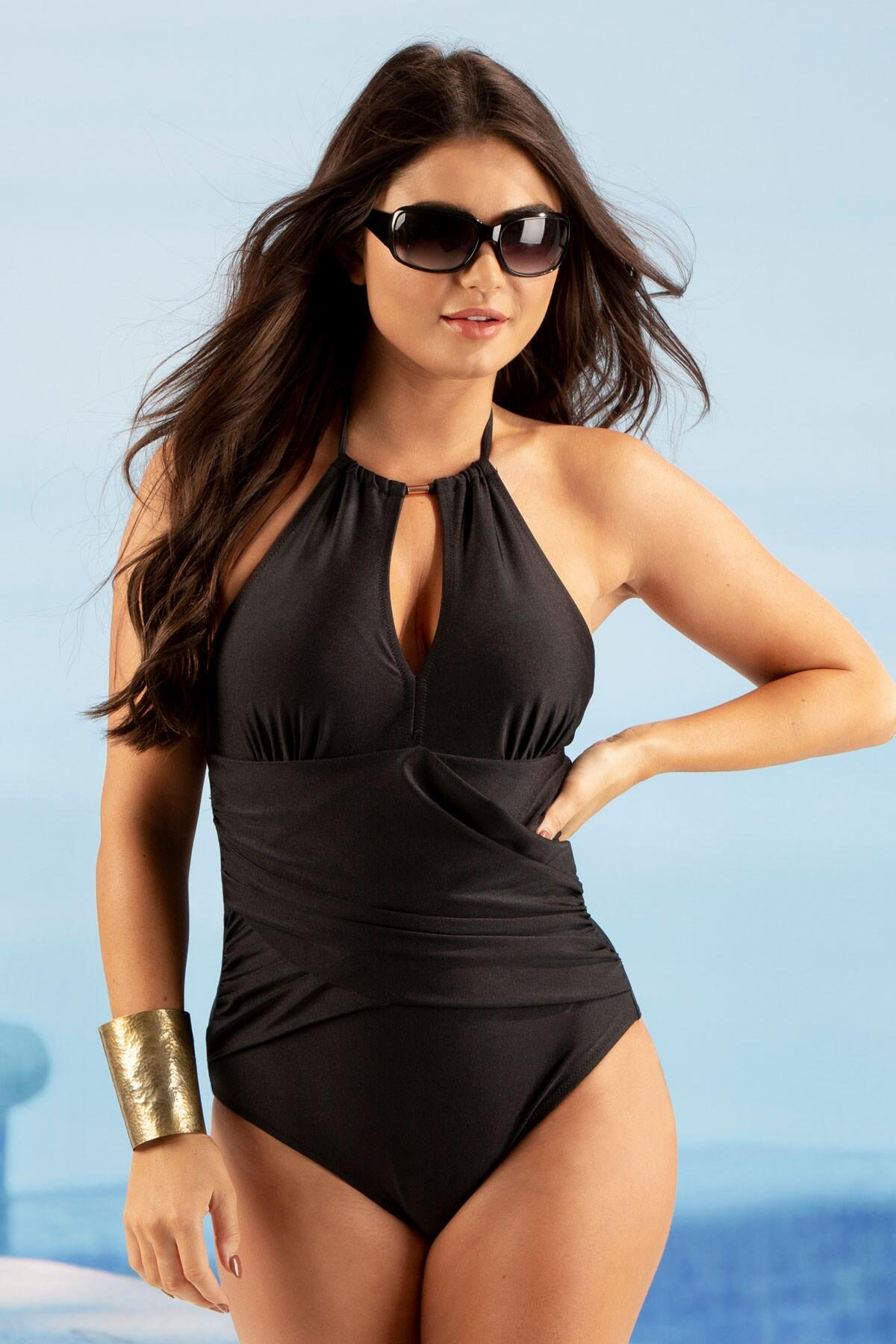 Ring Neck Control Swimsuit - Black
