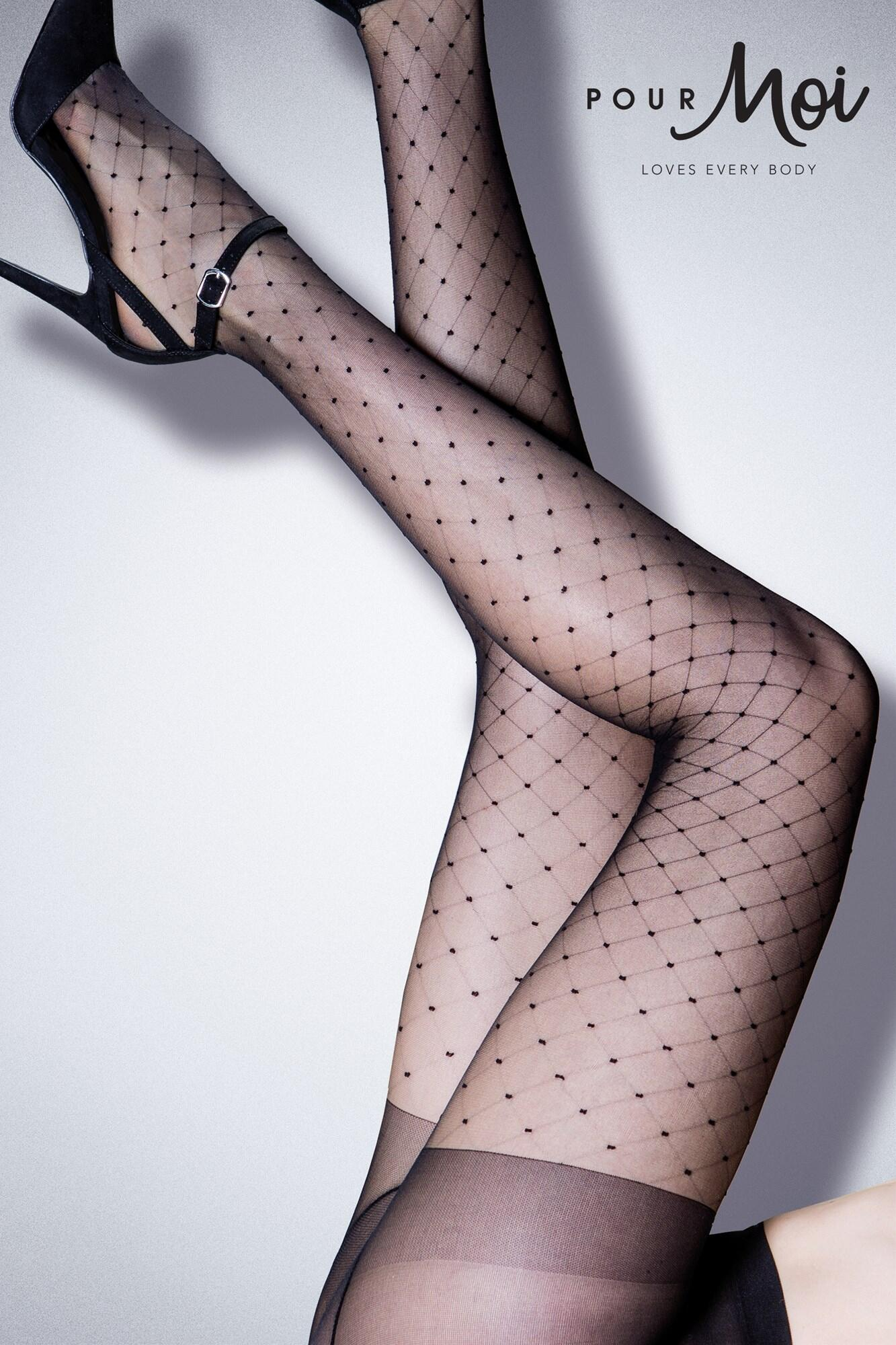 Charm Luxe 15 Denier Diamond Tights - Black