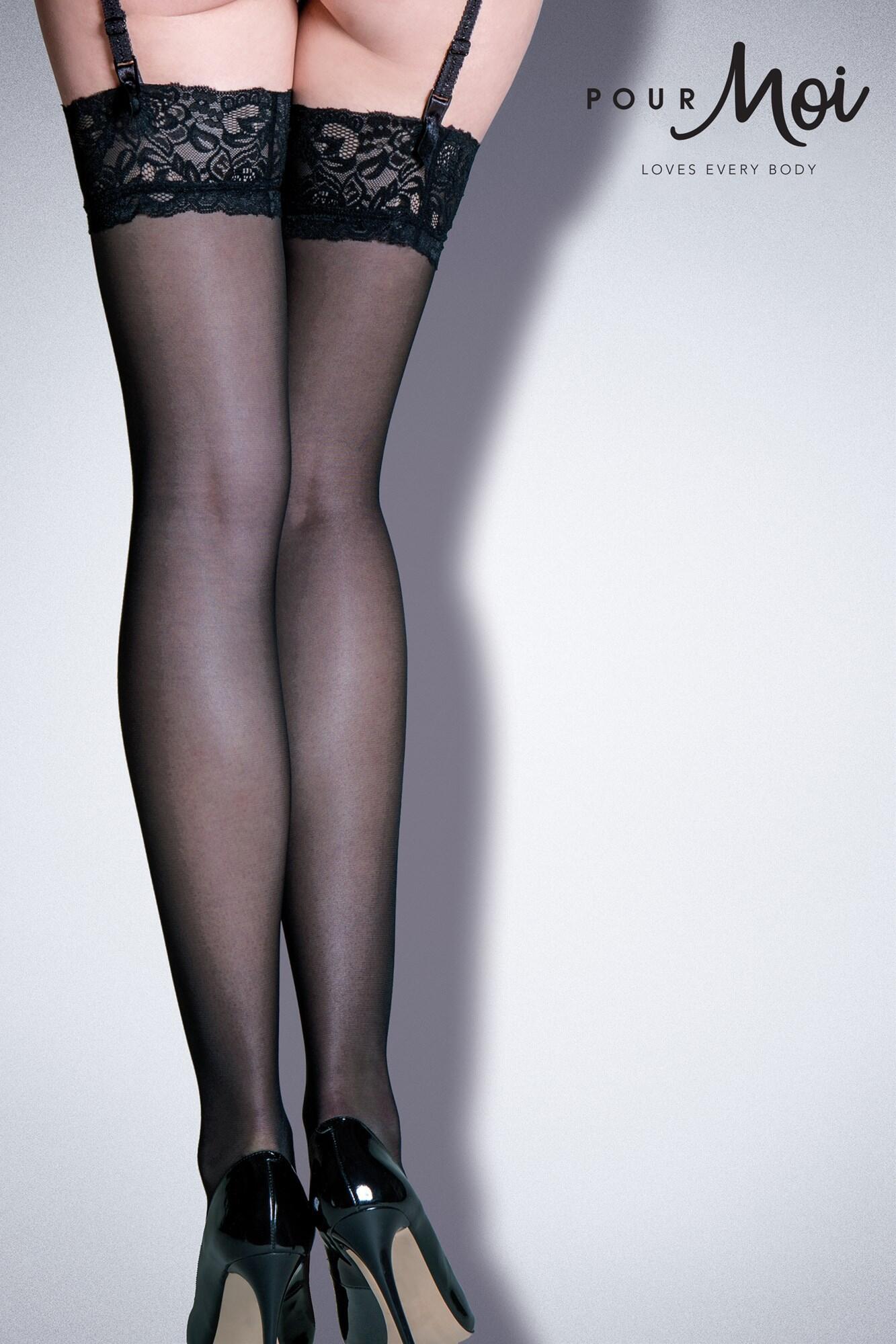 Allure Lace Top 15 Denier Stocking - Black