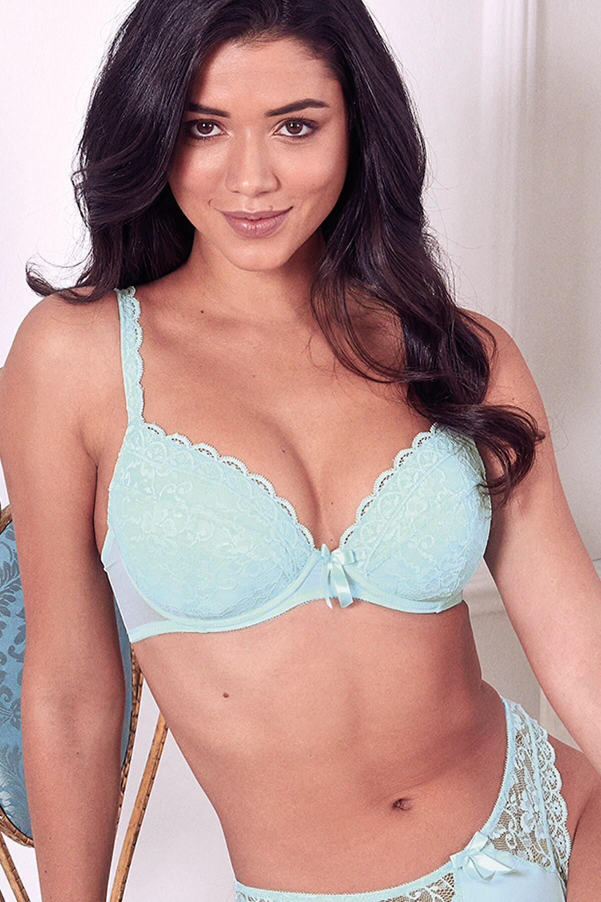 Rebel Padded Plunge Bra - Aqua