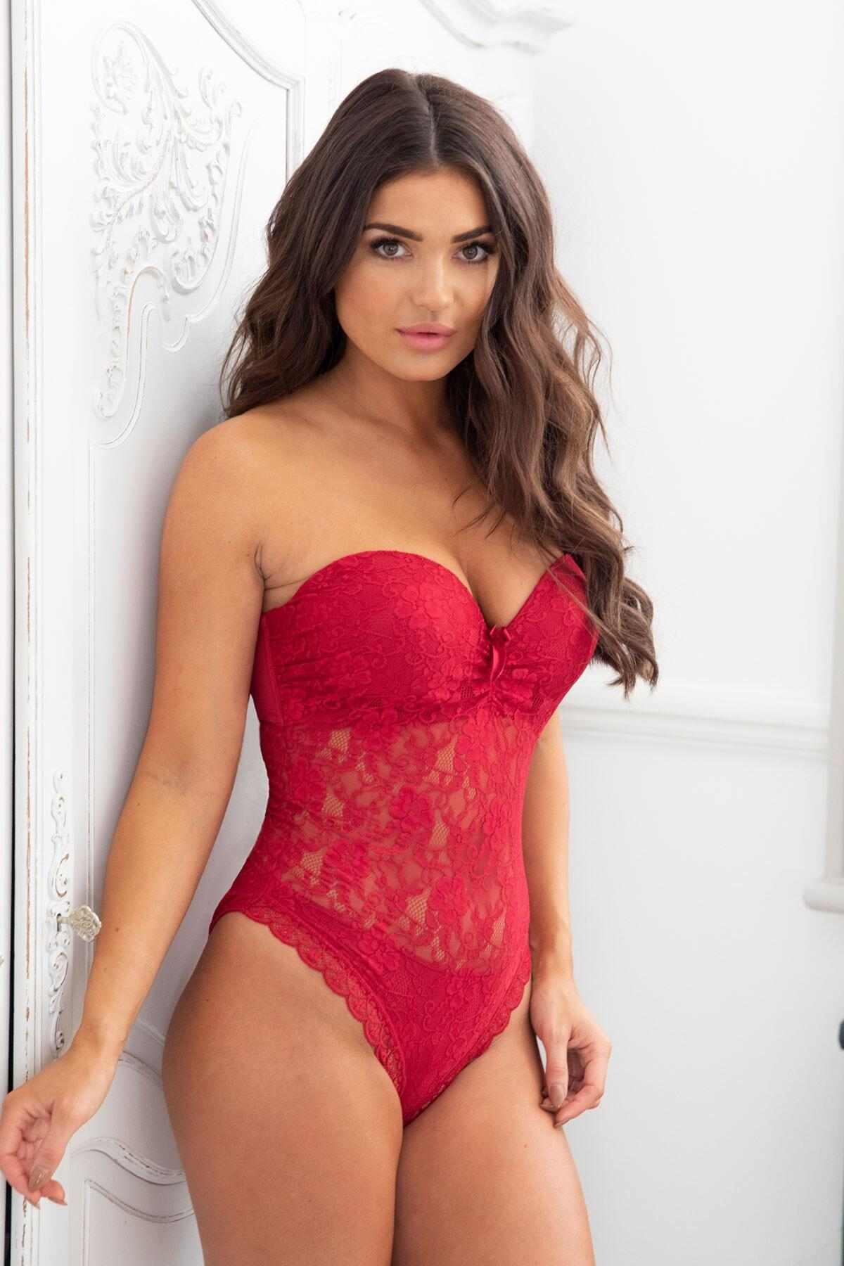Rebel Strapless Padded Underwired Body - Red