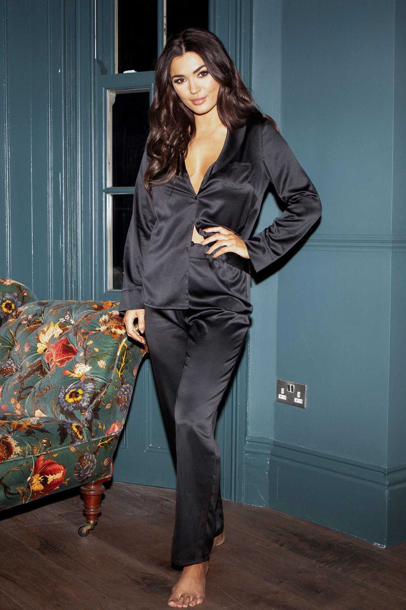 Dusk Satin Pyjama Set - Black