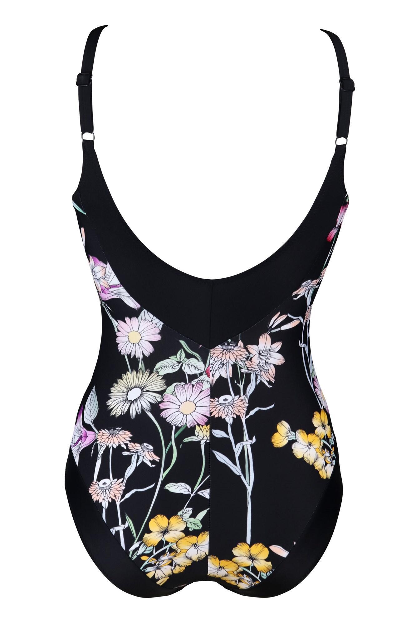 Pour Moi 1496 Black Floral Contour Control Swimsuit Sizes 10-22