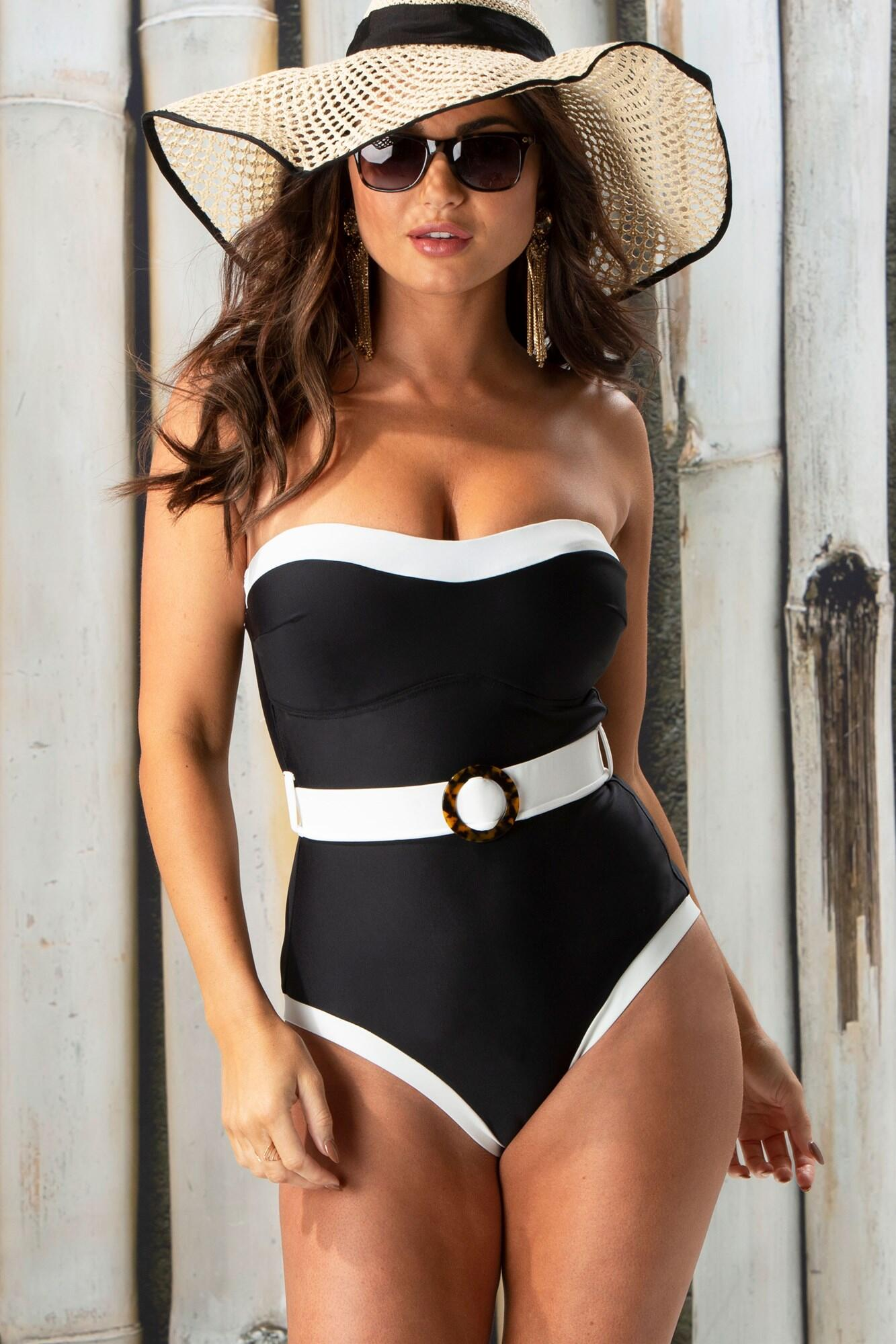 Removable Straps Belted Control Swimsuit - Black/White
